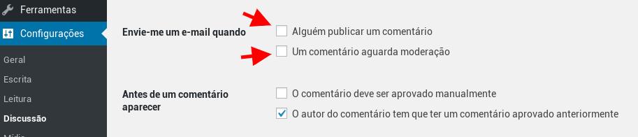 Desativar notificações de comentários no WordPress