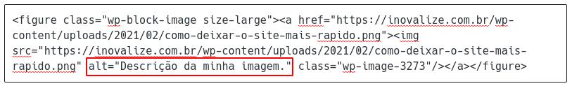 Adicionando tag ALT na imagem via HTML.